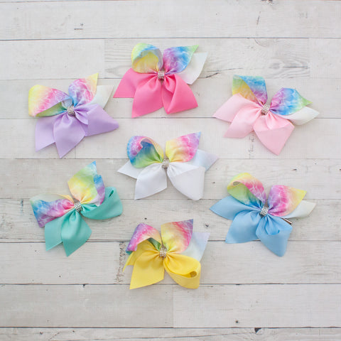 "6"" Tie Dye Grosgrain Hair Bow with Rhinestone Center - 7 Colors"