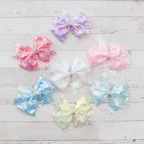 "6"" Fancy Sequin Hair Bow - 7 Colors"