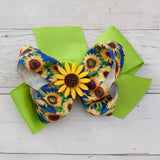 "6"" Sunflower Grosgrain Hair Bow - 7 Colors"