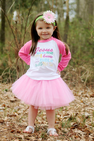 Jesus Loves Me This I Know Raglan T-Shirt, Pink Tutu, & Headband Set