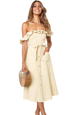 Off-Shoulder Ruffle Dress with Sash - 3 Colors