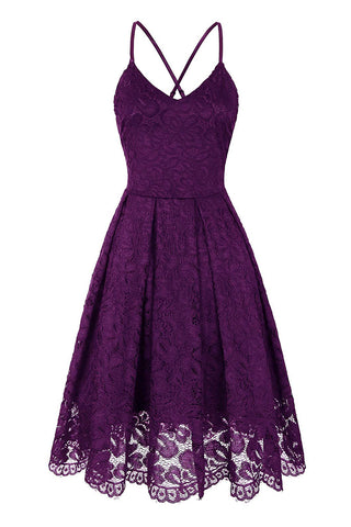 Sleeveless Lace Overlay A-Line Dress - 3 Colors