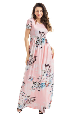 Light Pink Floral Short Sleeve Maxi Dress