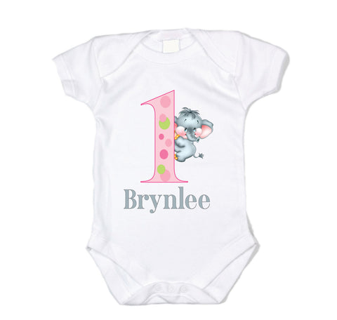 Custom 'First Birthday Party' Graphic Bodysuit With Baby Elephant