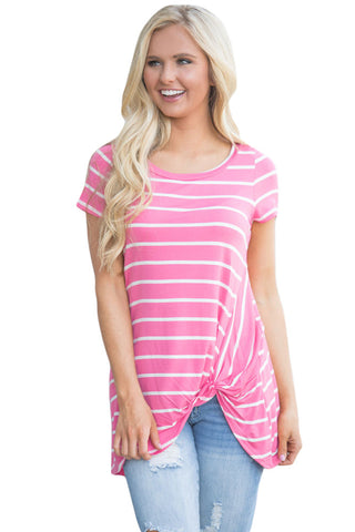 Stripe Front Knot Short Sleeve Tee