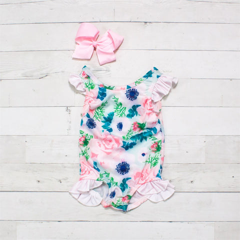 Pink, Blue & Green Floral One-Piece Ruffle Swimsuit - Pinky