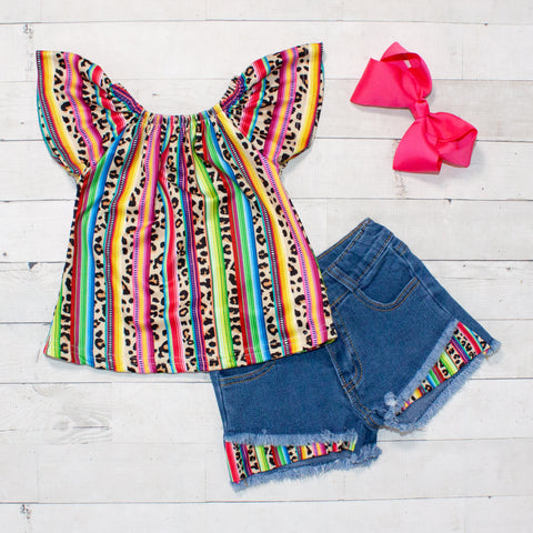 Leopard Print and Rainbow Striped Pattern Top and Jean Shorts Set