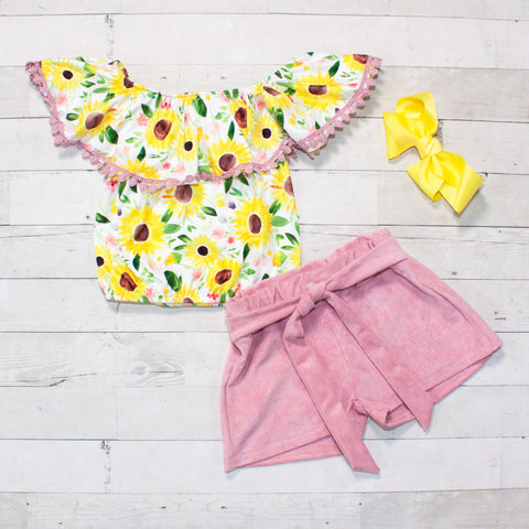 Sunflower Pattern Top & Pink Cotton Shorts Set