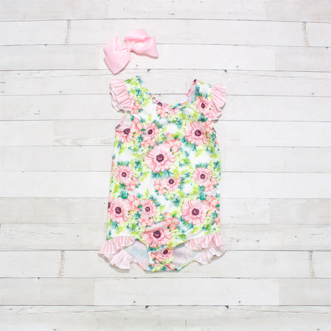 Pink, Lime & Green Floral One-Piece Ruffle Swimsuit - Sunshine