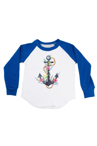 Watercolor Anchor with Flower - Raglan T-Shirt