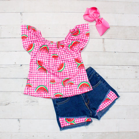 Hot Pink Gingham and Watermelon Pattern Top and Jean Shorts Set