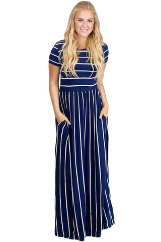 Navy & White Striped Short Sleeve Maxi Dress