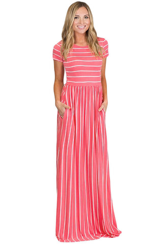Rosy Pink & White Striped Short Sleeve Maxi Dress