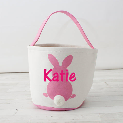 Round Cottontail Bunny Easter Basket/Tote - Personalizable