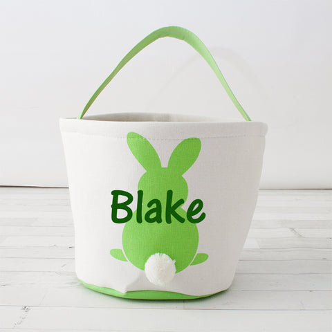 Round Cottontail Bunny Easter Basket/Tote - Personalized
