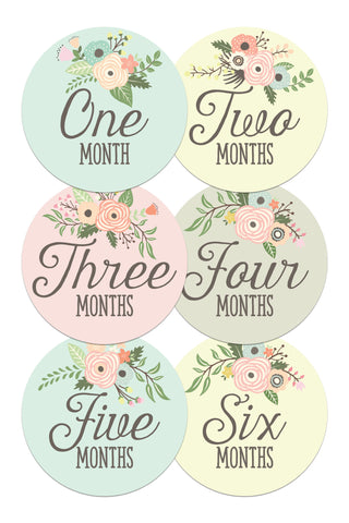 Baby Monthly Stickers - Floral Bouquets