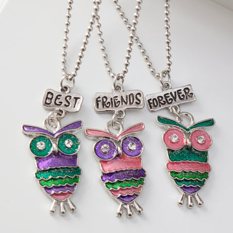 Best Friends Forever Owl Friendship Necklaces Set of 3