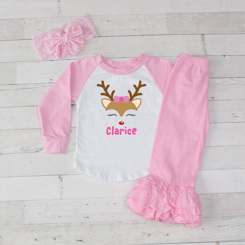 Girl Reindeer Personalized 3pc Shirt and Ruffle Pants Set - Pink