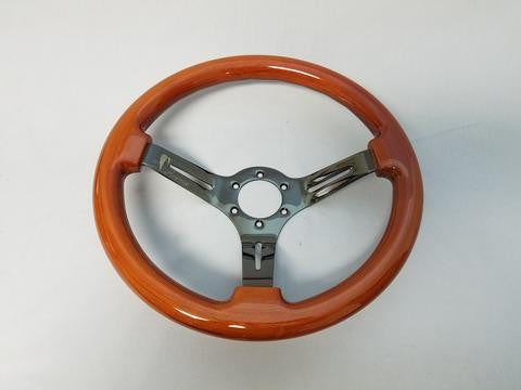 Avenue Performance: Wood/Black Chrome Spokes Steering Wheel