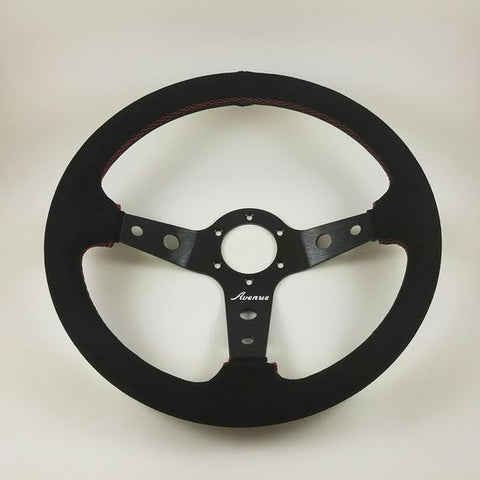 Avenue Performance: Black Suede | Red Stitching | Black Spokes Steering Wheel