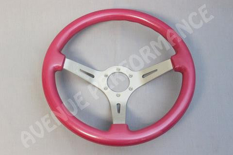 Avenue Performance: Persian Pink/Aluminum Brushed Spokes Steering Wheel