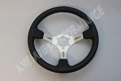 Avenue Performance: Black Leather/Aluminum Brushed Spokes Steering Wheel