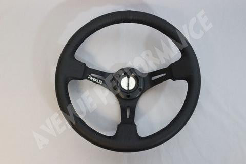 Avenue Performance: Black Leather/Black Spokes Steering Wheel
