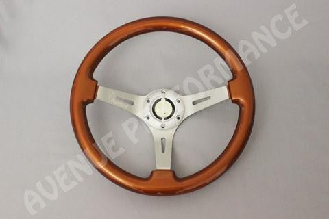 Avenue Performance: Burnt Orange/Aluminum Brushed Spokes Steering Wheel