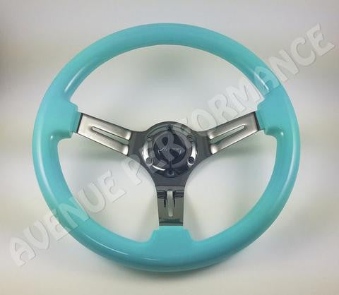 Avenue Performance: Minty Green/Black Chrome Spokes Steering Wheel