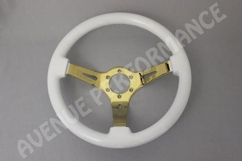 Avenue Performance: Cosmic White/GOLD SPOKES Steering Wheel