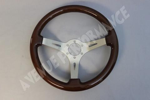 Avenue Performance: Woodgrain/Aluminum Brushed Spokes Steering Wheel