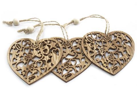 Pack of 3 Christmas Wooden Craft Decorations - DŽcor Heart