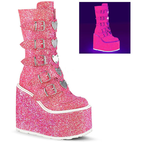 Women's Demonia SWING-230G Platform Mid-Calf Boot Pink Glitter