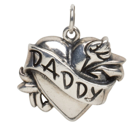 Femme Metale .925 Sterling Silver Daddy Charm Necklace Tattoo Heart Rockabilly