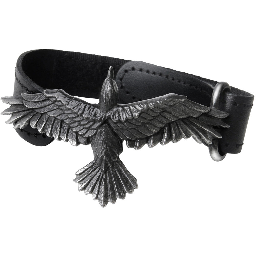 Alchemy of England Black Consort Wriststrap Raven Goth Leather