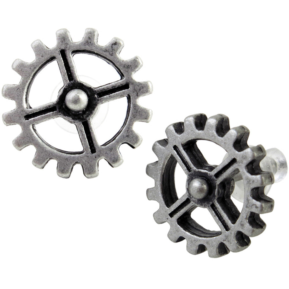 Alchemy of England Industrilobe Stud Earrings Gears Punk Steampunk