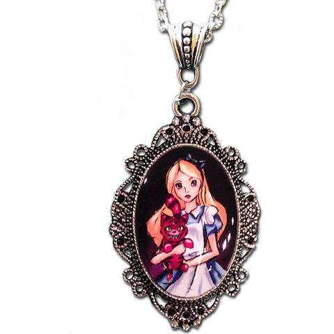Alkemie & Artistry Alice and Cheshire Cat Cameo Necklace Wonderland Victorian