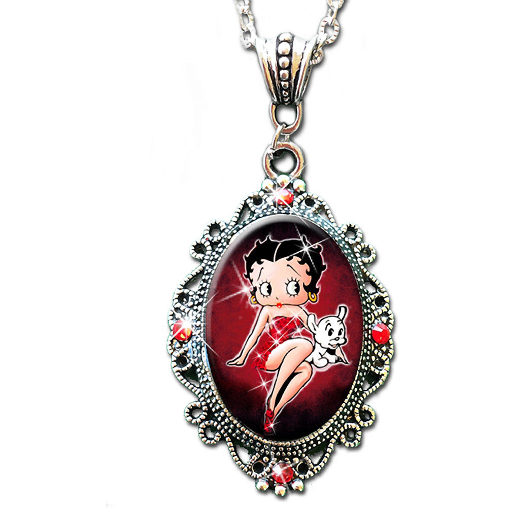 Alkemie & Artistry Betty Boop Sparkles Cameo Necklace Retro Vintage Inspired