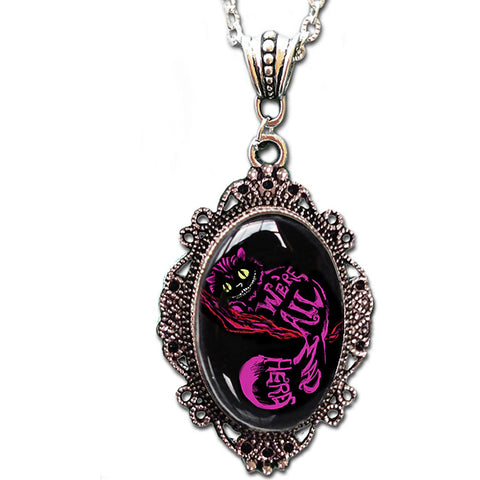 Alkemie & Artistry Cheshire Cameo Necklace Alice In Wonderland Cat