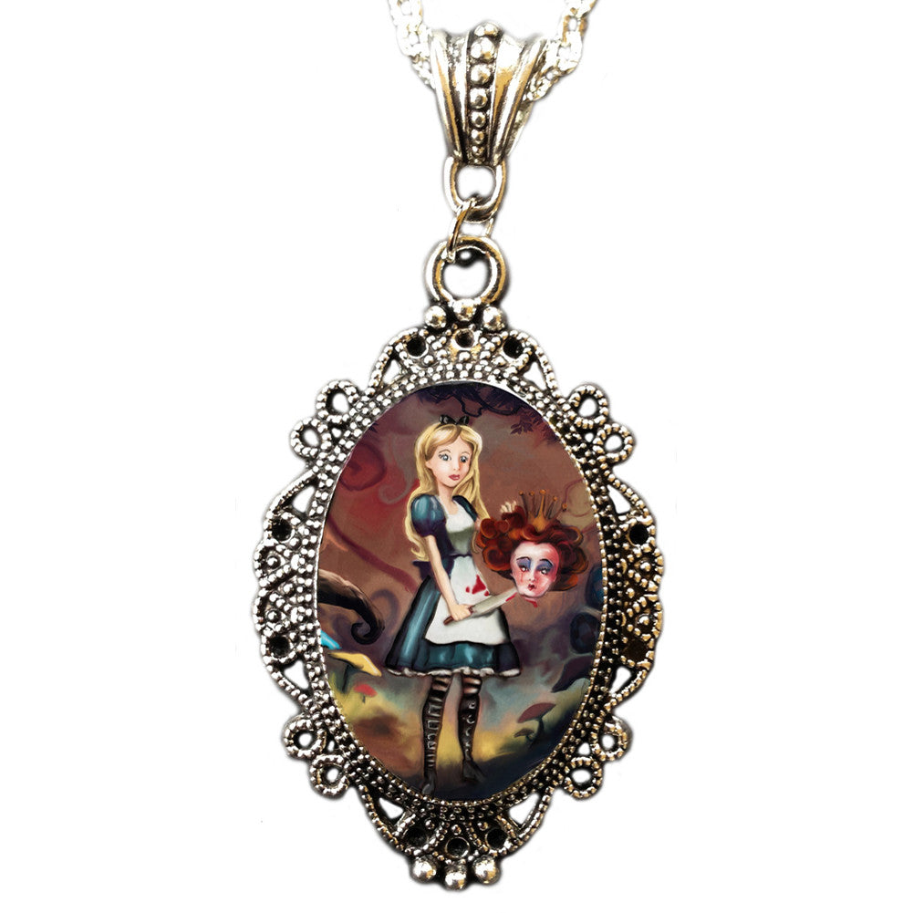 Alkemie & Artistry Off With Her Head Cameo Necklace Evil Alice Wonderland