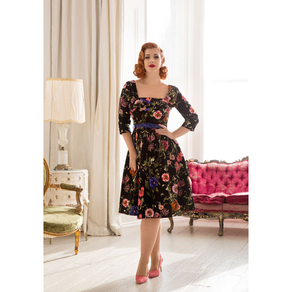 Voodoo Vixen ALLIE Floral Flare Dress Black