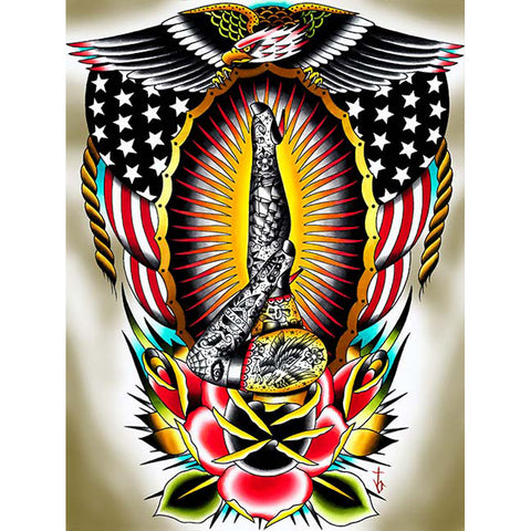 American Legs by Tyler Bredeweg Canvas Giclee Traditional Tattoo Eagle Flag
