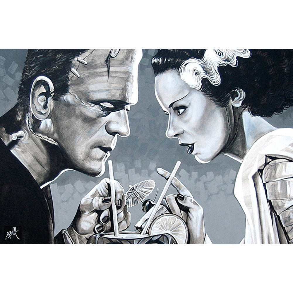 Amorous Libation Fine Art Print by Mike Bell Frankenstein Bride Monster