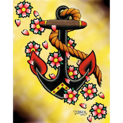Anchor & Flowers by Tyler Bredeweg Canvas Giclee Traditional Tattoo Nautical