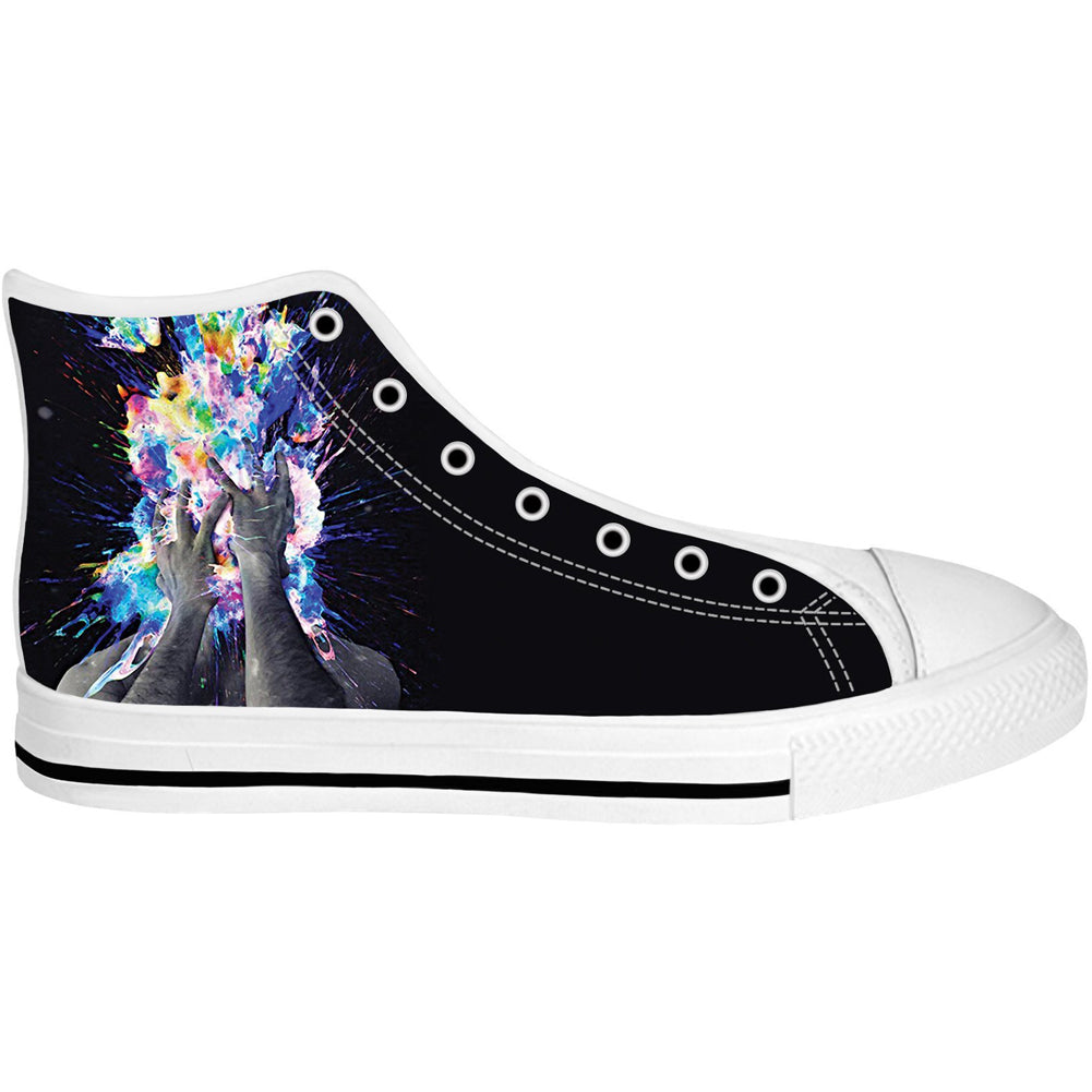Unisex Artistic Bomb High Top Canvas Shoes White Sole