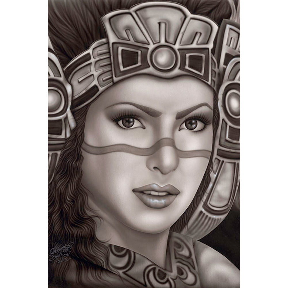Aztec Princess Fine Art Print by Big Ceeze Chicana Latina Mexican