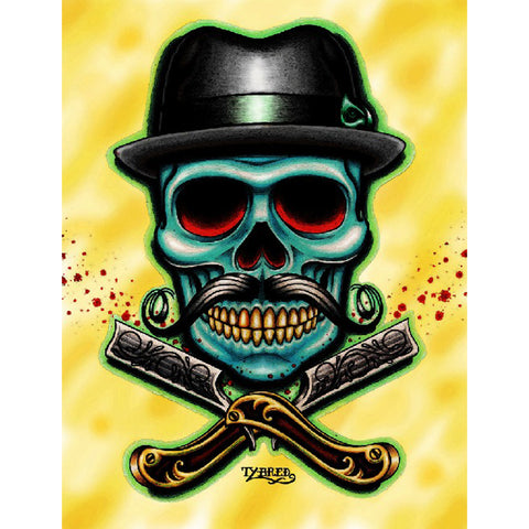 Barber Skull by Tyler Bredeweg Canvas Giclee Traditional Tattoo Moustache Hat