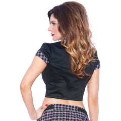 Bedroom Stories Plaid Tie Crop Top Purple School Girl