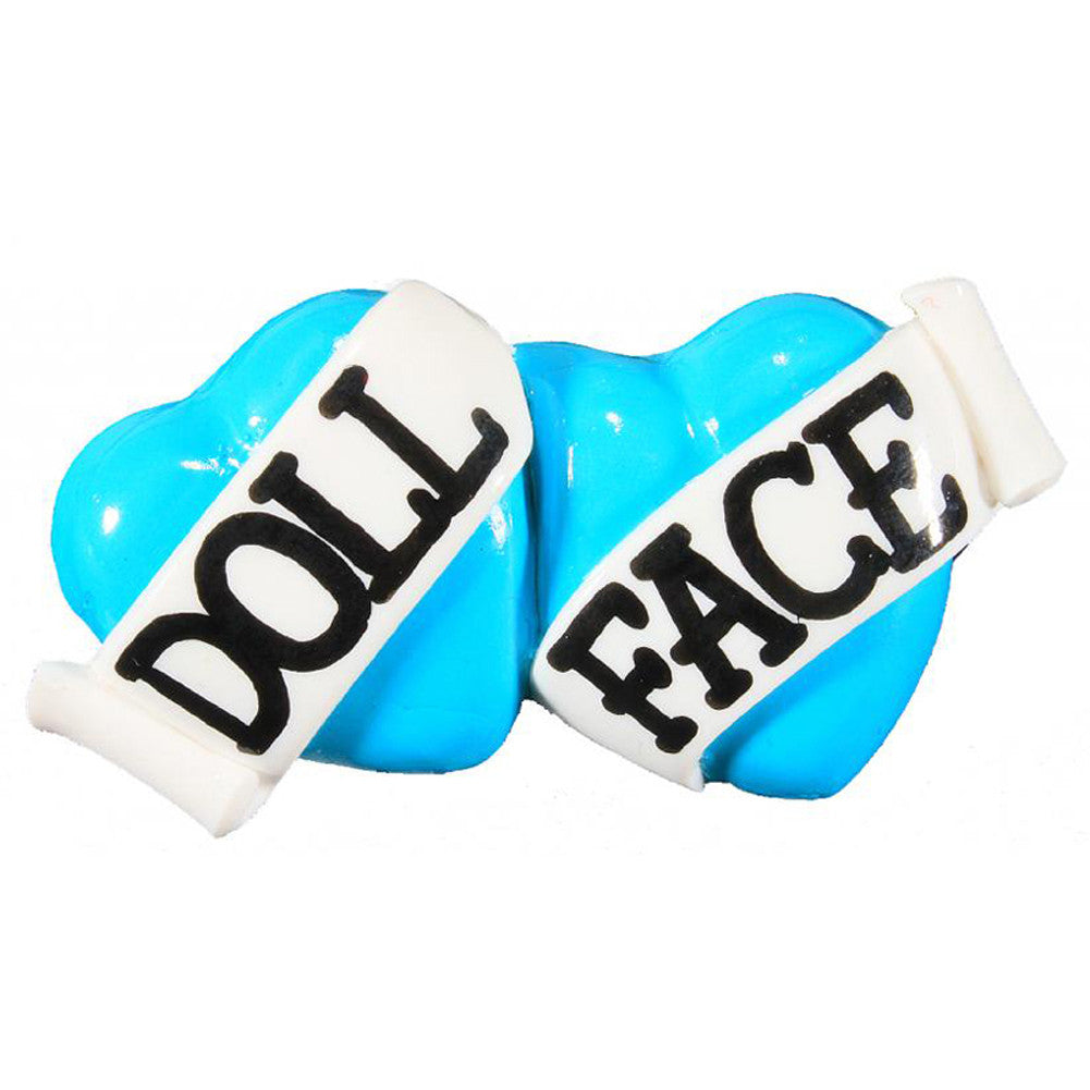 Bete Noire Doll Face Double Heart Two Finger Ring Blue Retro Rockabilly Pinup