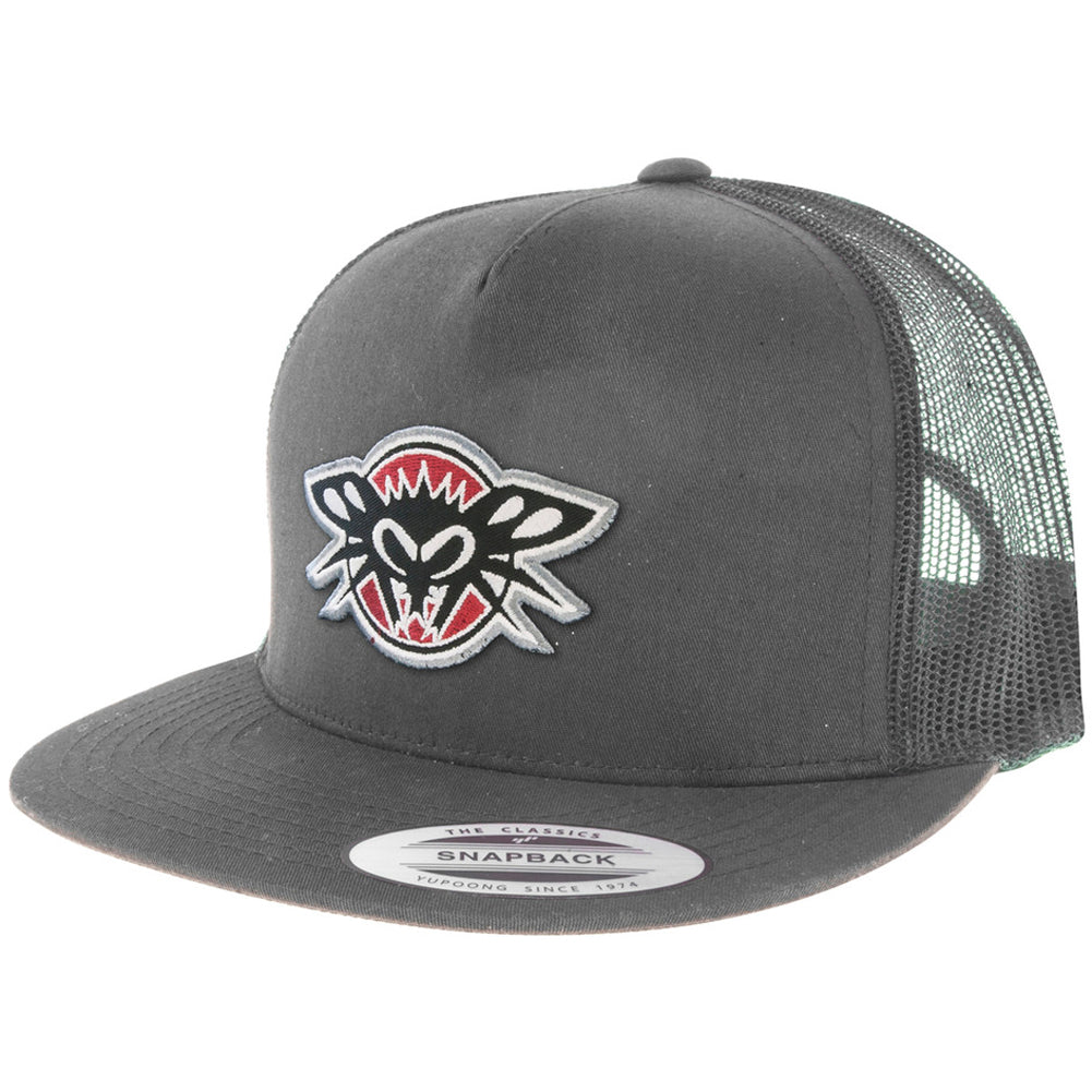 Black Flys Phantom Patch Trucker Flatbill Snapback Hat Grey Logo Street Urban